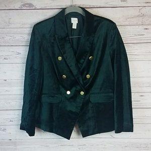 Chicos Hunter Green Velvet Blazer Size L (2)